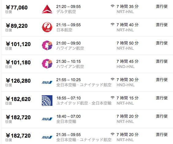 Googleフライトで東京ーホノルル間を検索した結果