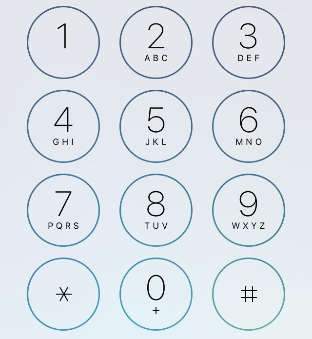iPhoneのキーパッド