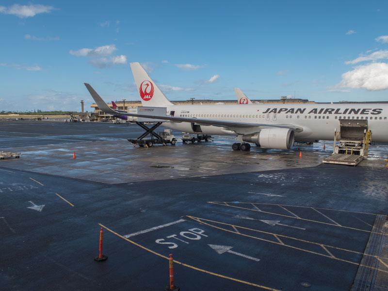 ホノルル空港で待機するJALの飛行機