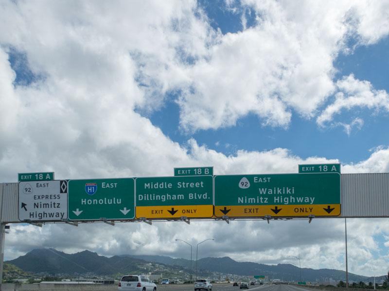 ホノルルのH-1の風景