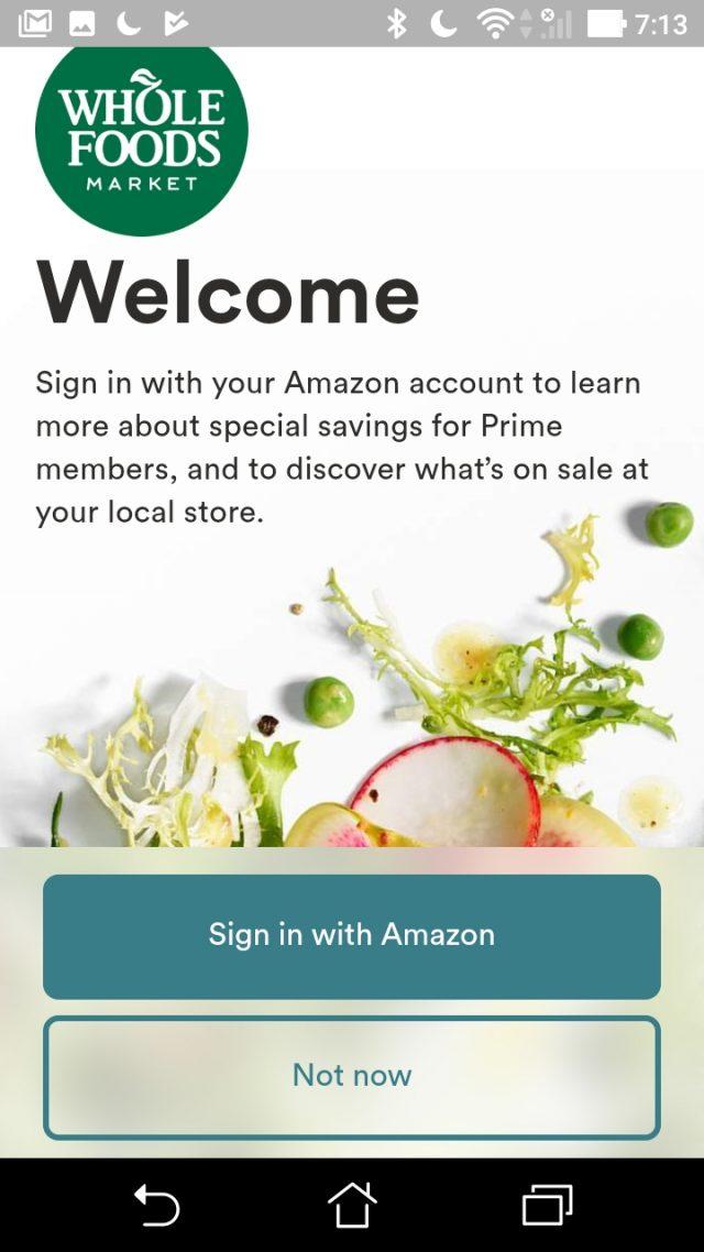 Whole Foods MarketアプリではAmazonのアカウントでログインする必要がある