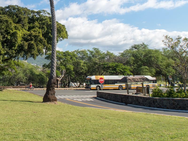 ダイヤモンドヘッド近くのTheBusのバス停の様子がわかる写真