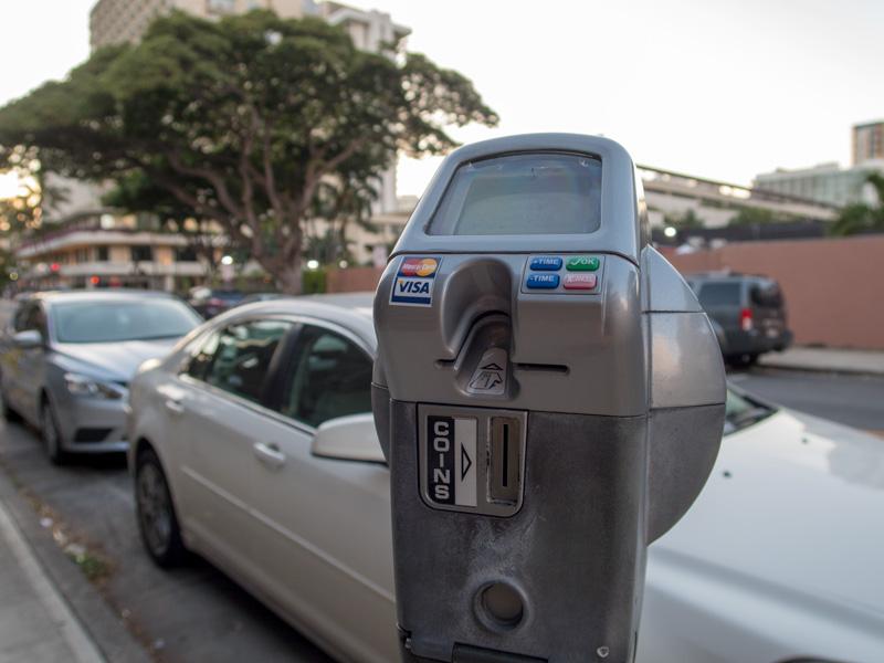 ワイキキでスマートメーターになっている路上パーキングの具体例