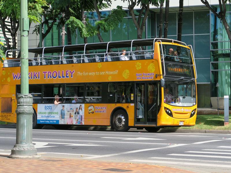 ワイキキトロリー・ピンクラインの二階建てバスにベビーカーで乗れたか?