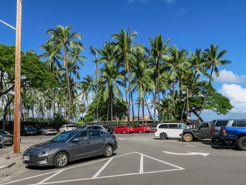 ハワイ島カイルアコナのKahalu'u Beach Park駐車場が満車になっていた時間帯の例